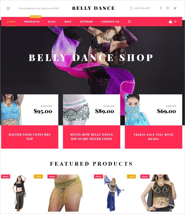 Belly Dance Products Fashion Blog WordPress Theme $90