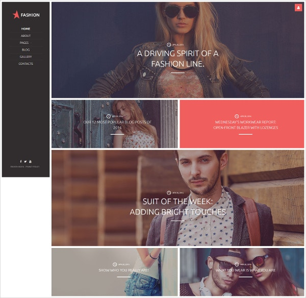 Suits Fashion Blog WordPress Theme $75