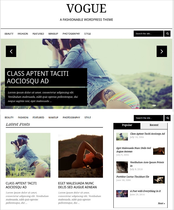 Elegant Fashion Blog WordPress Theme $59