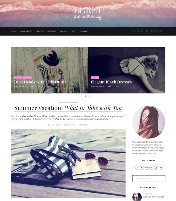 Personal Fashion Blog WordPress Theme $49