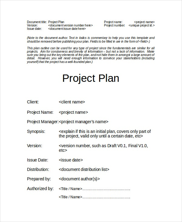 free-project-plan-template