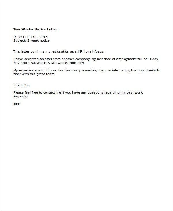 Sample 2 Weeks Notice Letter - Twenty.Hueandi.Co
