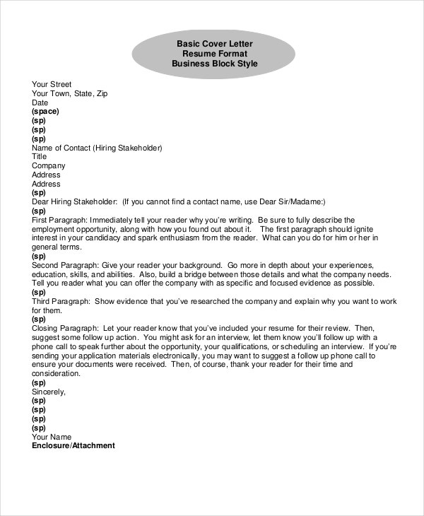 resume cover letter format - Picture Of A Cover Letter