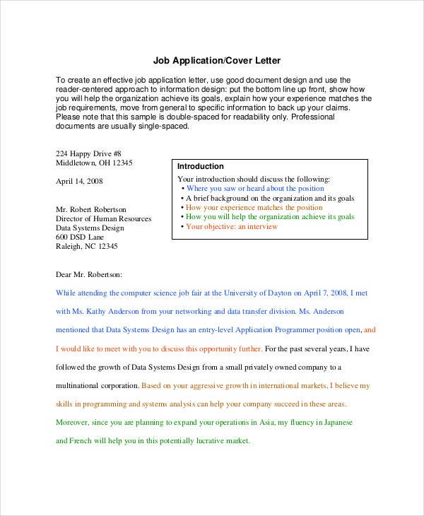 job application cover letter format - Application Cover Letters