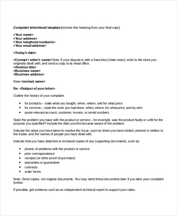 Complaint Cover Letter Format Example  Format For Cover Letter
