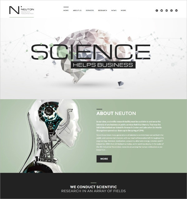 Responsive Science Lab & Business WordPress Theme $75