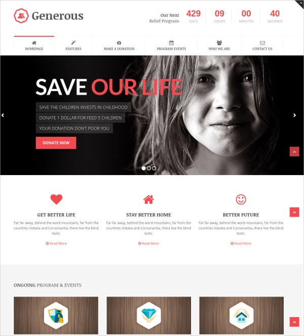 Charity & Non Profit WordPress Theme $59