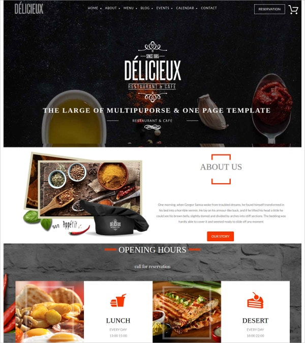 Restaurant, Cafe & BakeryWordPress Theme $59