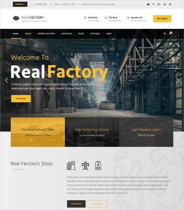 Construction Industry Responsive WP Theme $59