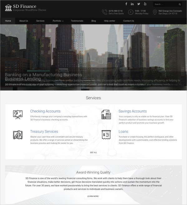 Corporate Business WordPress Theme $49