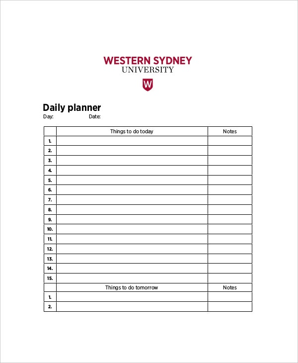 sample academic daily planner