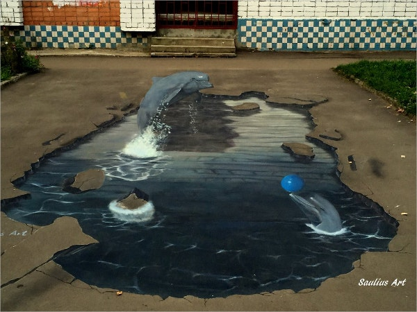 3D street Art Dolphins