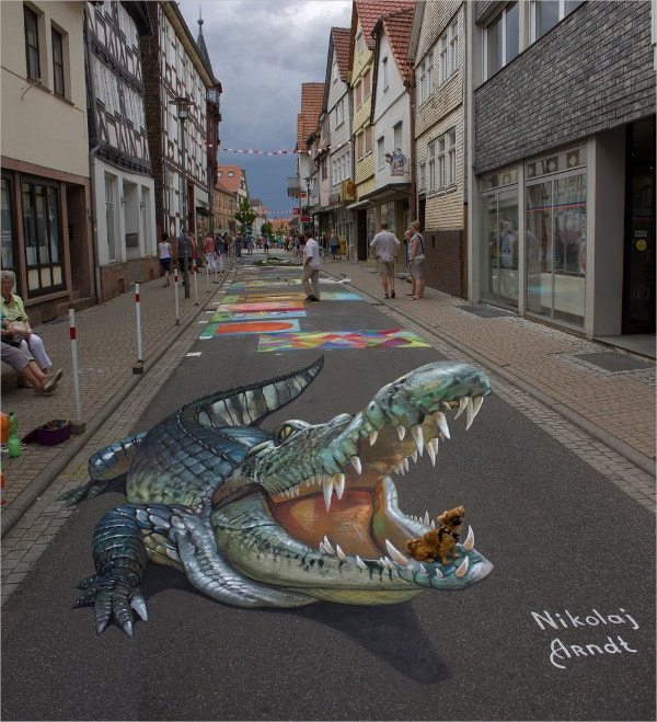 Crocodile 3d Street Art