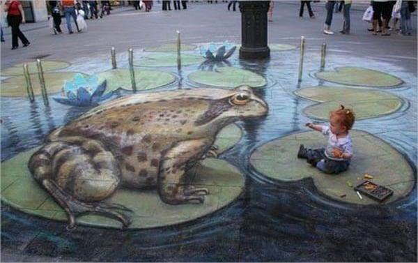 Frog & Baby 3D Street Art