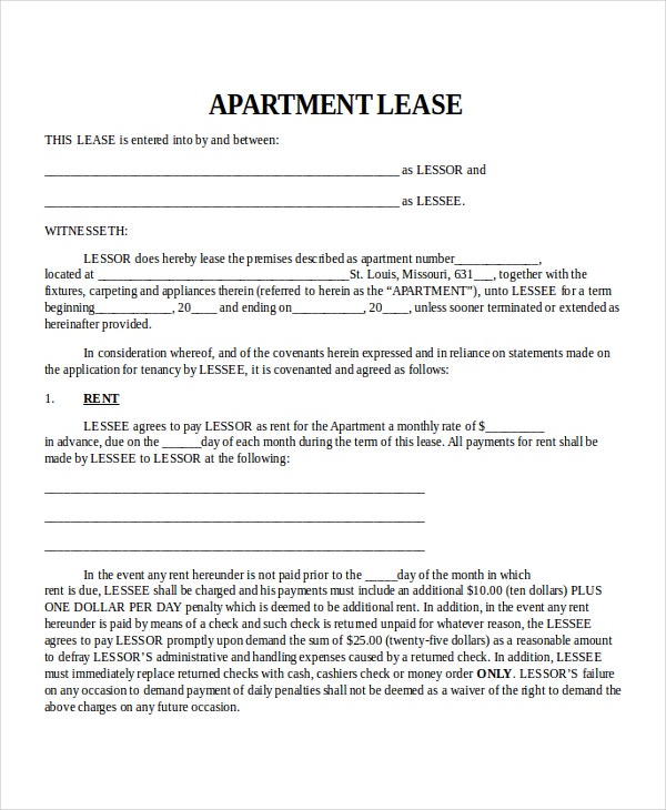 Apartment Lease Template  Lease Templates