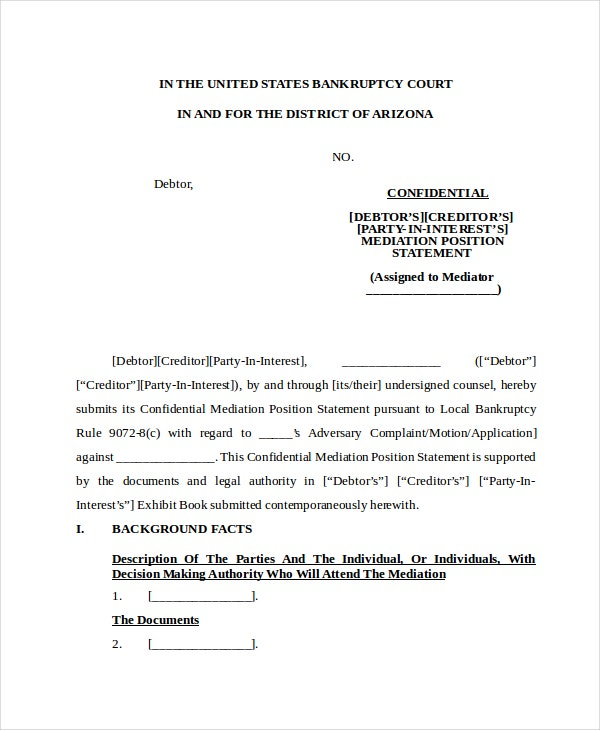 Confidential Mediation Position Statement Template  Affidavit Of Sworn Statement