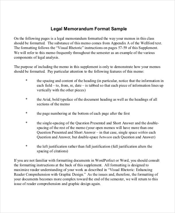 legal memorandum format template