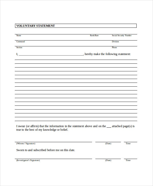Legal Witness Statement Template  Example Of Sworn Statement