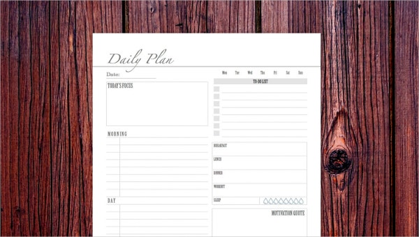 business daily planner templates