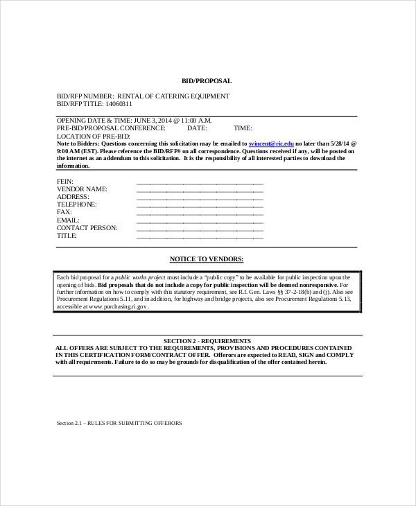 Bid Proposal Template Professional Business Bid Proposal Template