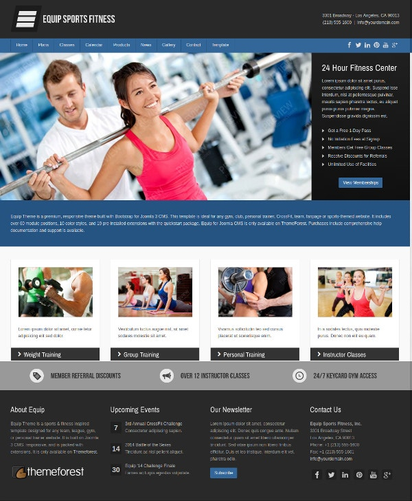 Joomla Fitness Equipments Theme