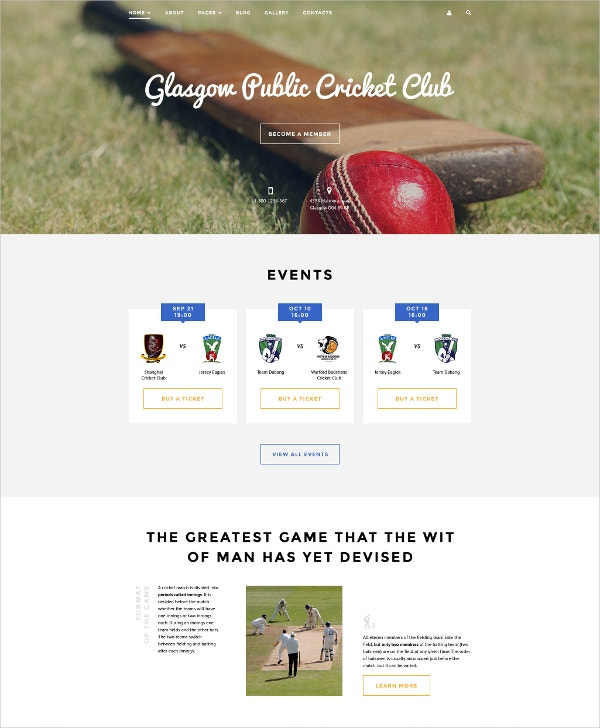 Cricket & Events Club Joomla Template