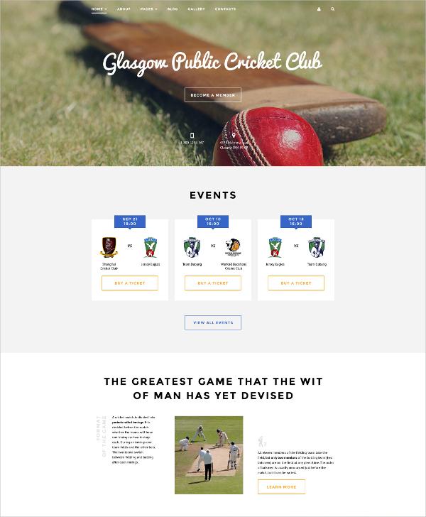 cricket events club joomla template