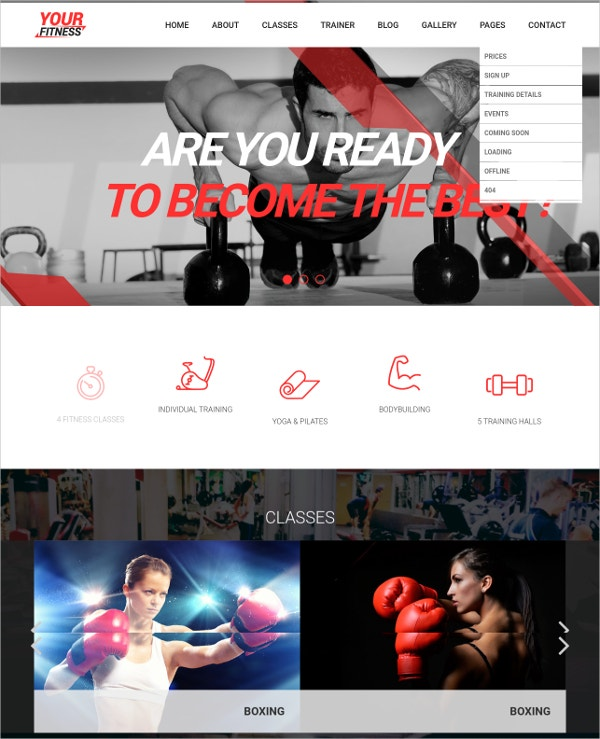 modern fitness club gym joomla theme