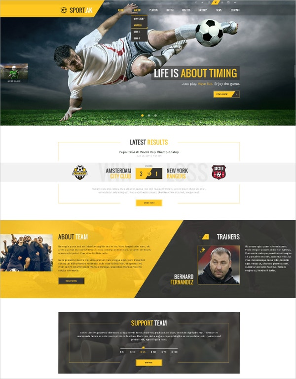 soccer sports club joomla theme