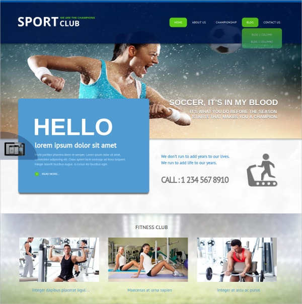 fully responsive sports club joomla theme
