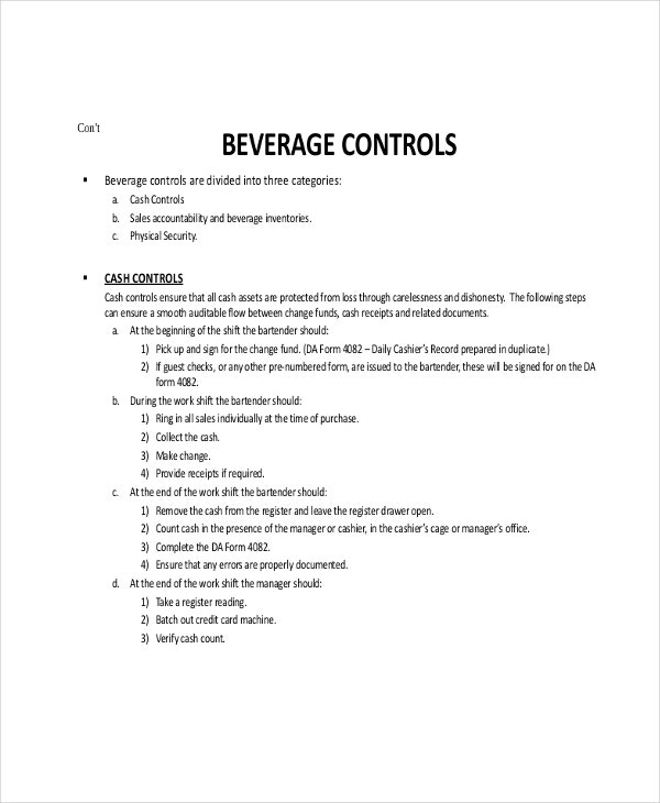 Perpetual Beverage Inventory Template