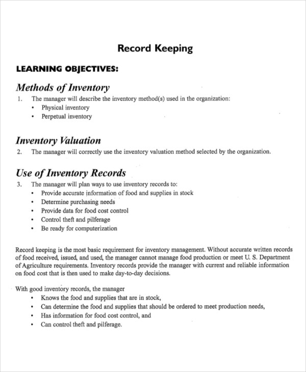 Perpetual Inventory Record Template