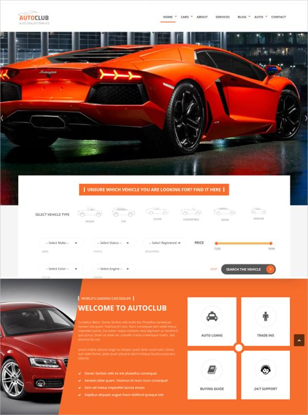 auto car dealer club joomla template