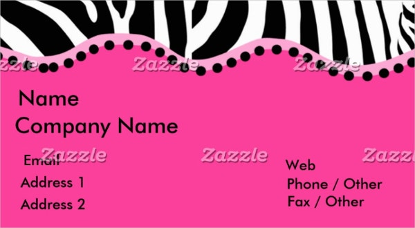 funky zebra business card