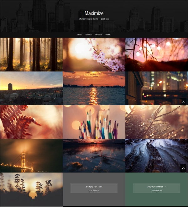 Full Screen Grid Dark Tumblr Theme