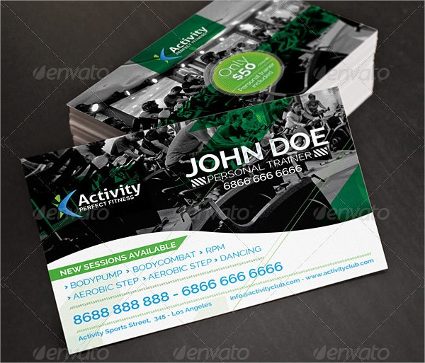 Fitness Business Cards Free PSD AI Vector EPS Format - Personal trainer business card template