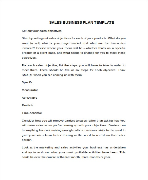 Business plan templates 14 free word pdf document for Business plan to increase sales template