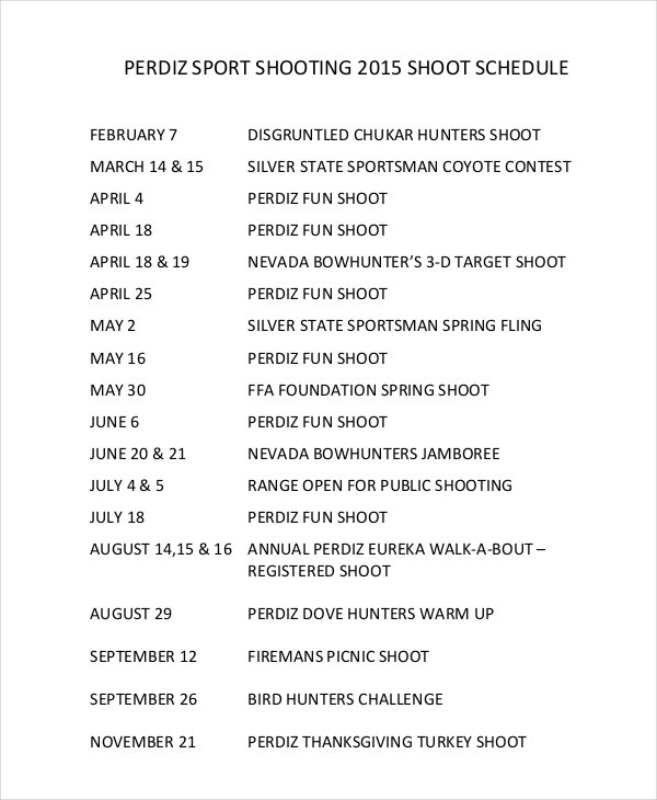 sport shooting schedule template