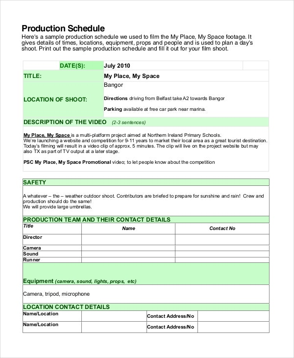 documentary production schedule template - shooting schedule template 13 free word pdf document