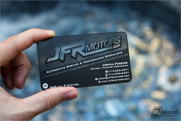Motors Black Metal Business Card