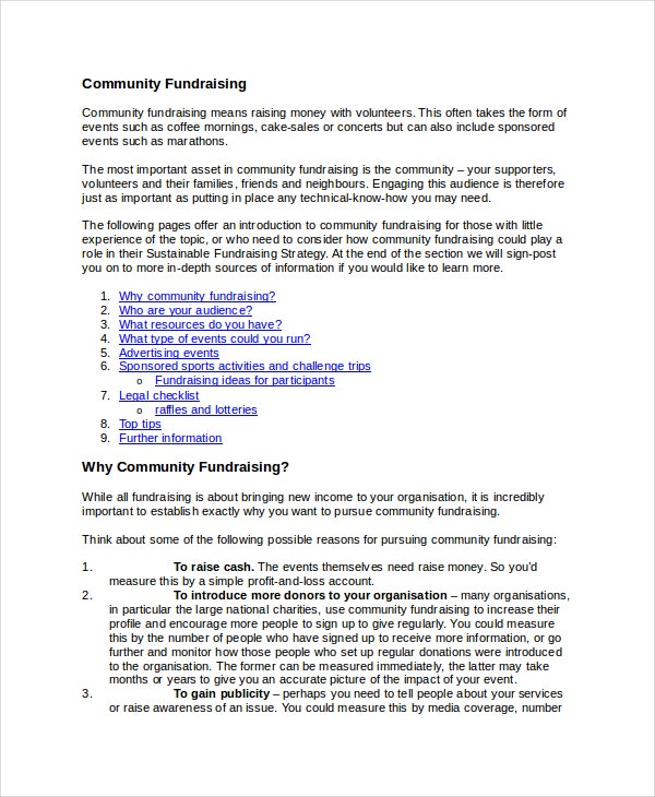 community fundraising strategy template