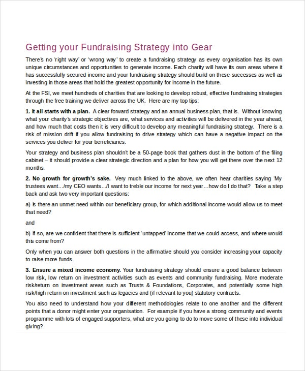 Fundraising Strategy Template - 6+ Free Word, Pdf Document