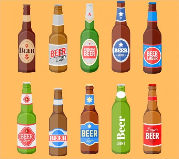 Beer Bottles Set with Label Free Vector