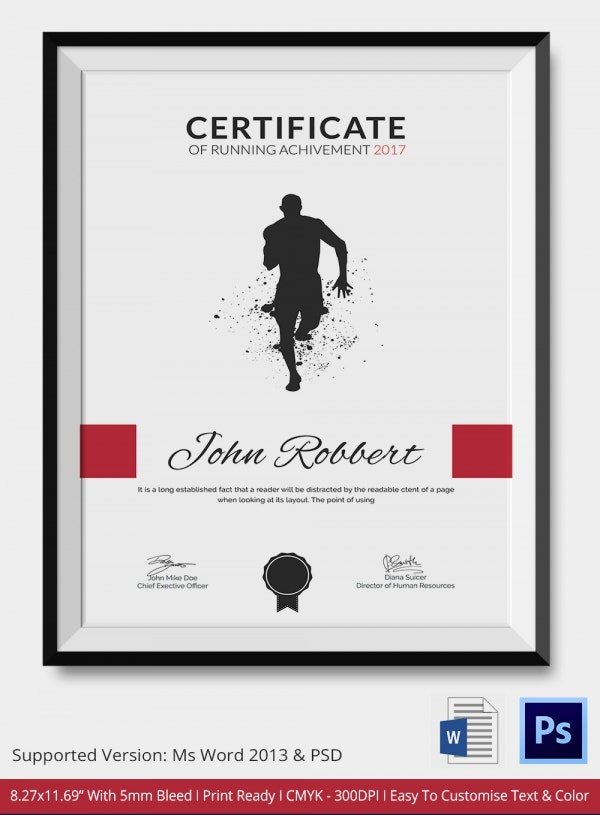 certificate of running template 5 word psd format