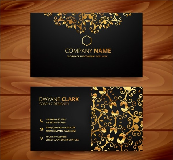 Luxury Business Card with Golden Ornaments