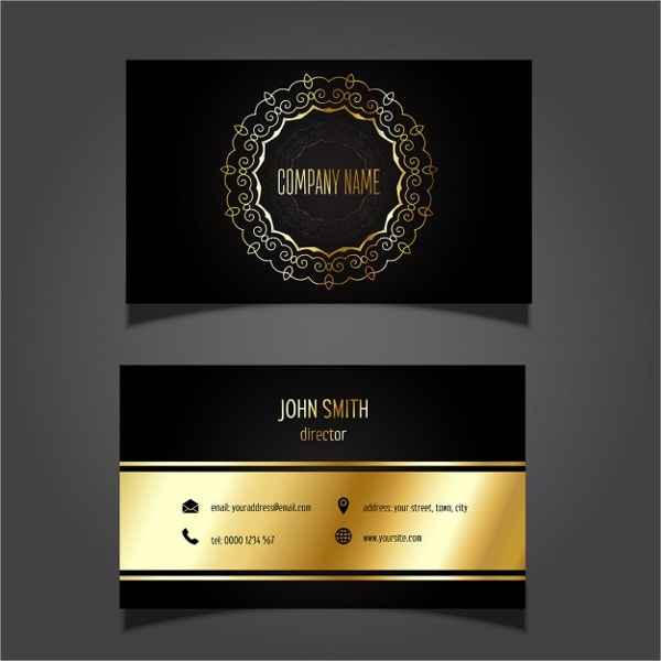 Stylish Business Card with Golden Details