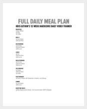 Full Daily Meal Menu Plan Template