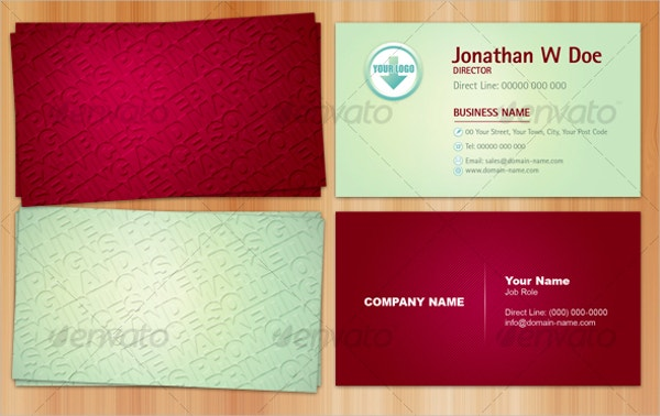 embossed effect business card template
