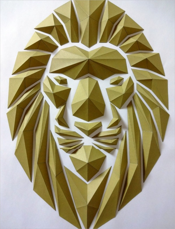 paper art lion head