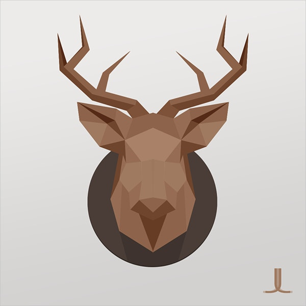Vectorized Reindeer Paper Art